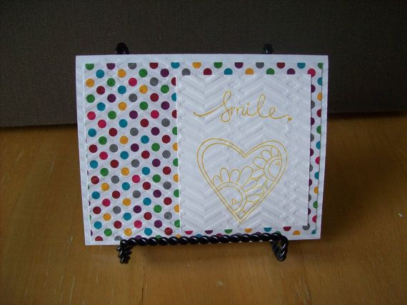 Handmade Greeting Card  Smile  Blank on the by janzcardsandgifts