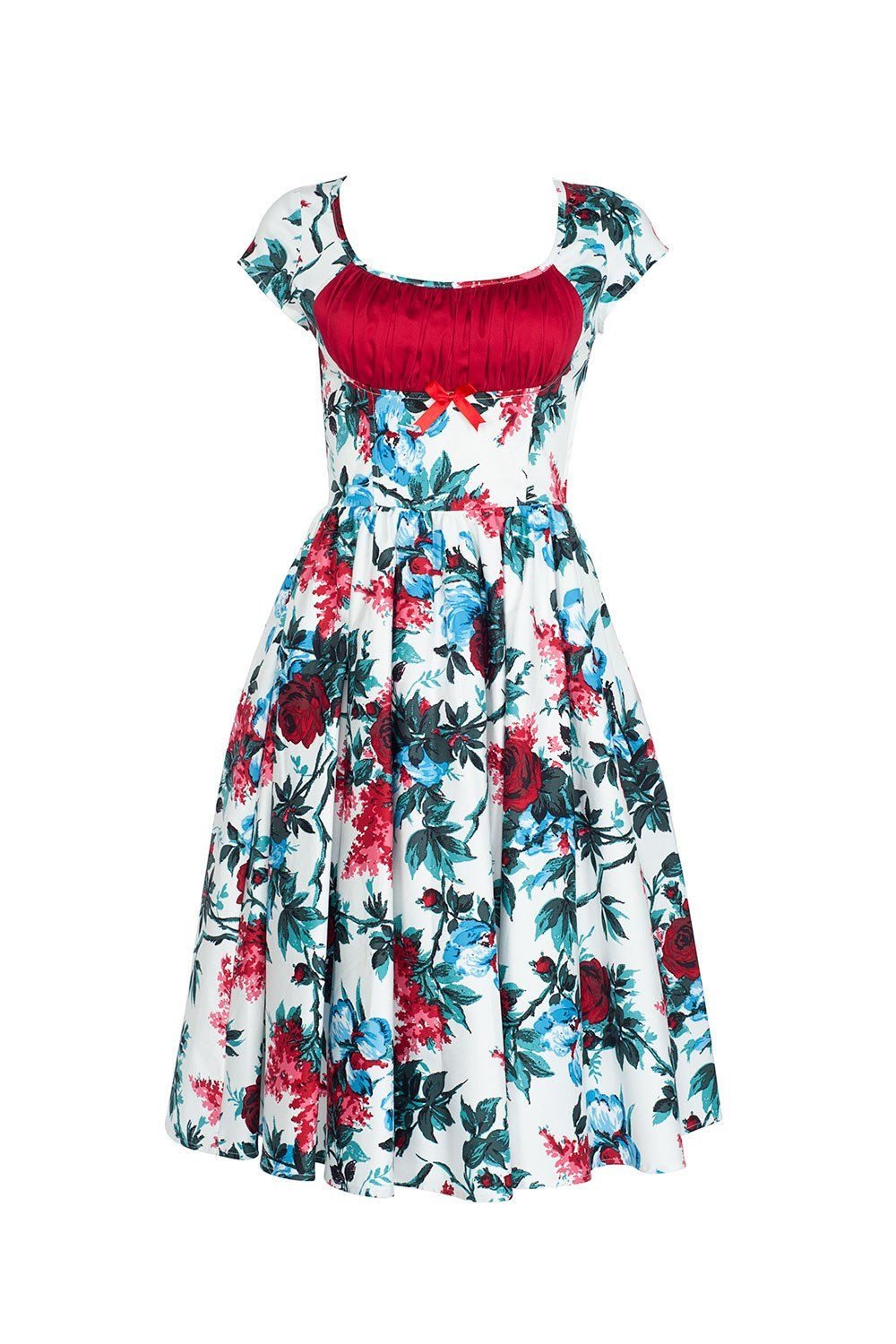 Final Sale - Pinup Couture Evelyn Dress in White and Red Floral ...