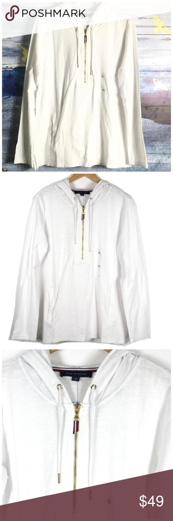 Tommy Hilfiger Half Zip White Hoodie Pullover XL NWT