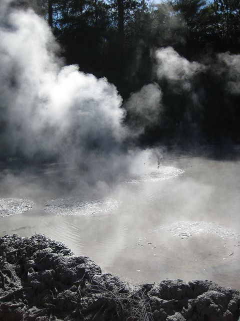 Boiling mud in Rotoura, New Zealand