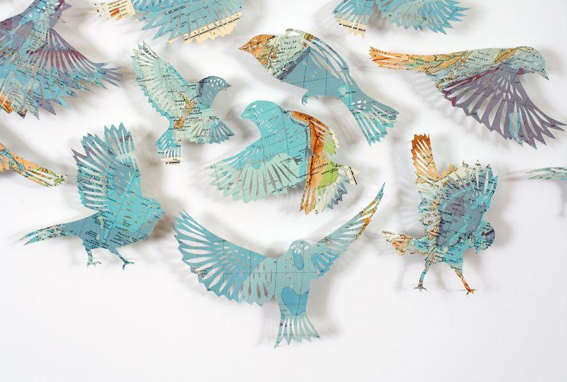 claire brewster - blue birds, paper, map, birds, flock, art, sculpture, paper cut