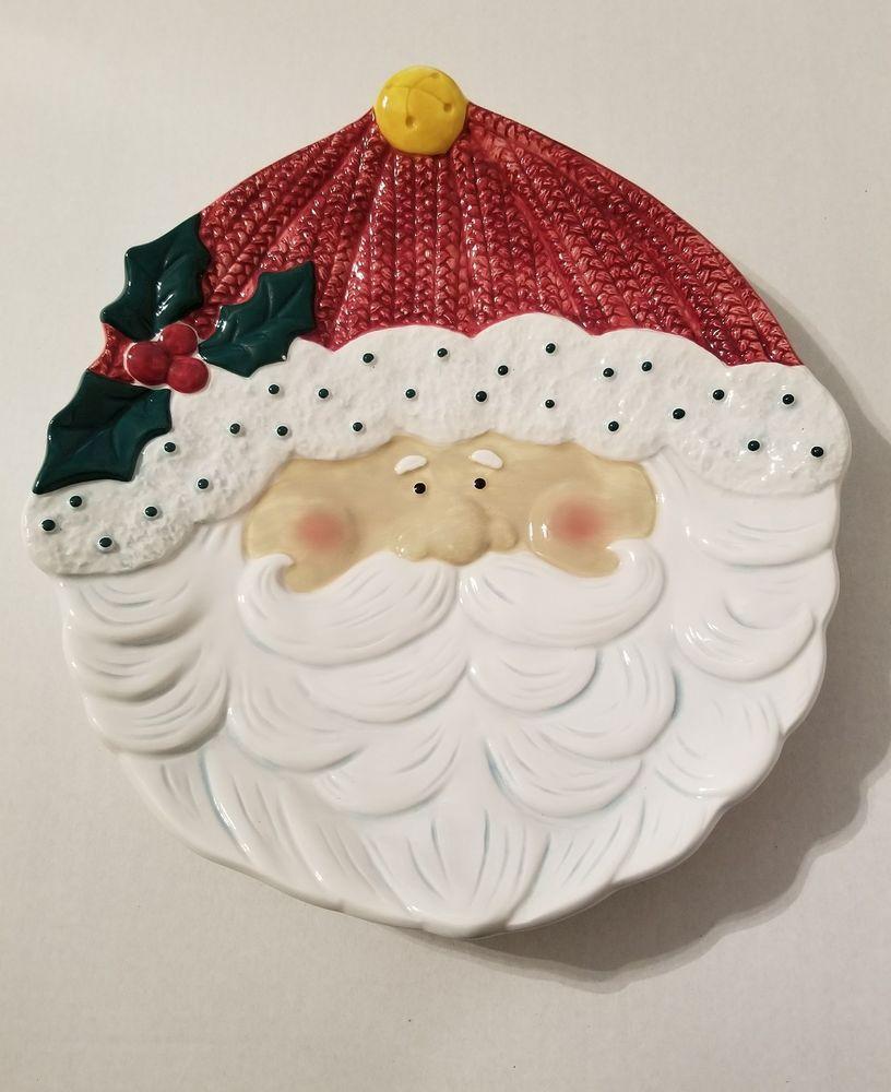 MAKE THE SEASON BRIGHT Santa Claus Ceramic Christmas Bowl Platter ...