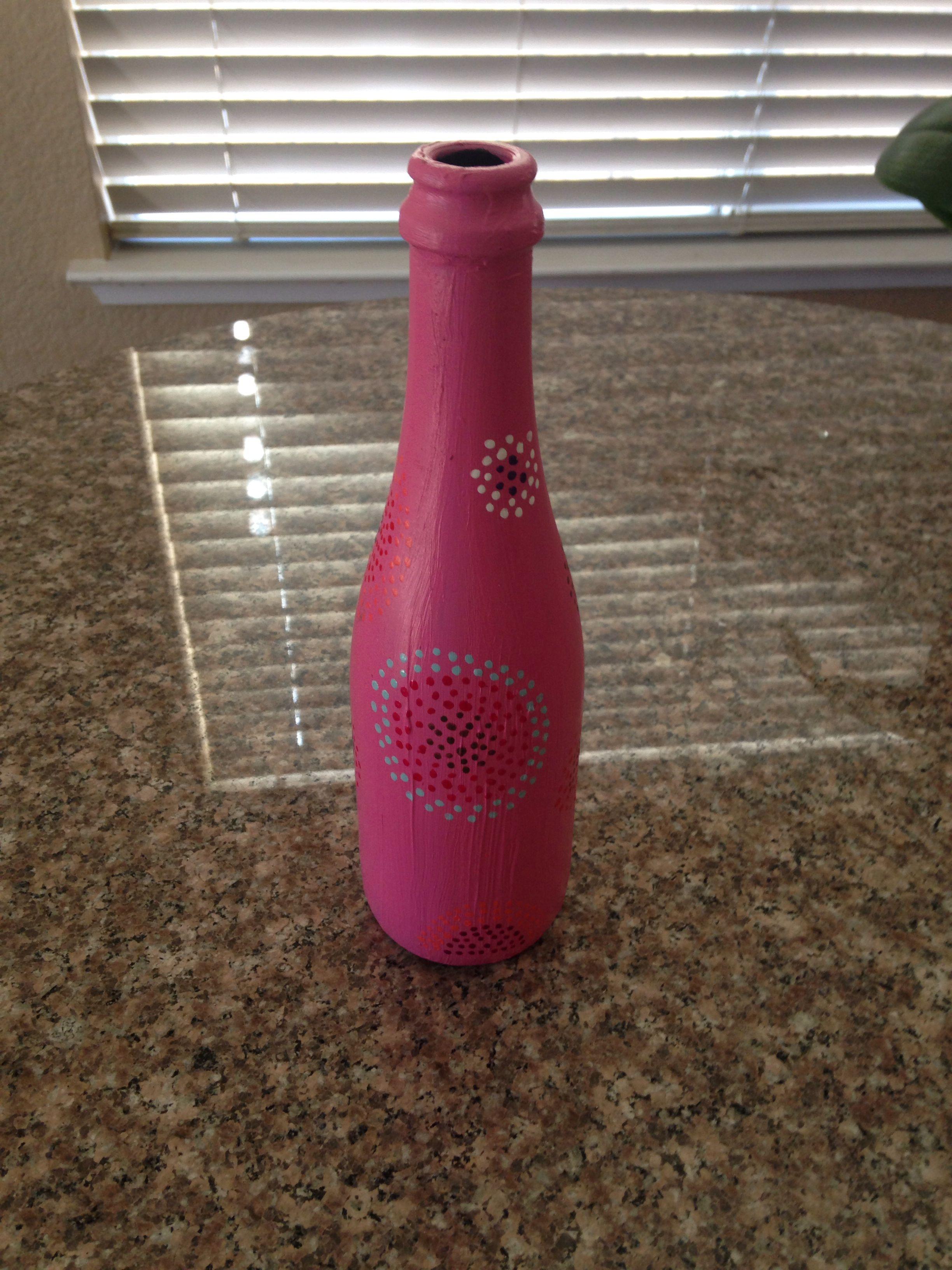 Diy Wine Bottle Vase Great For Big Little Week Sorority Crafts Wine Bottle Diy Wine Bottle Vases Diy Wine