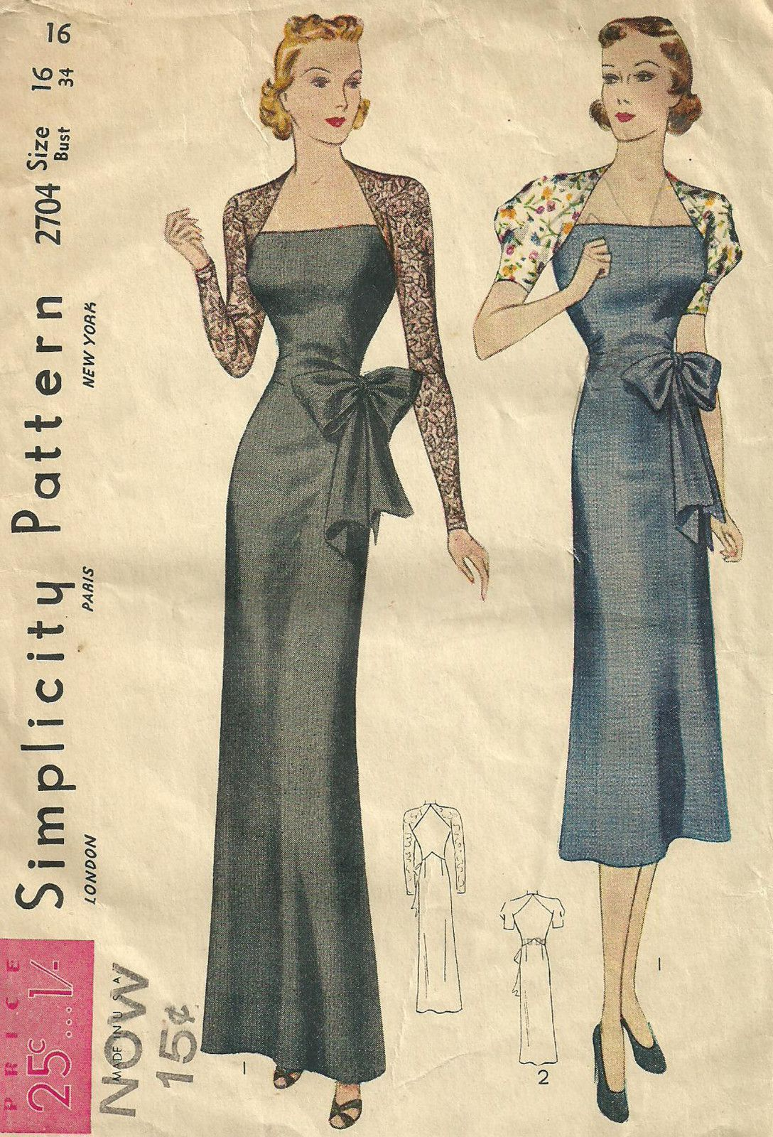 Simplicity 2704 Vintage 1930s Sewing Pattern Evening Dress Gown Size ...