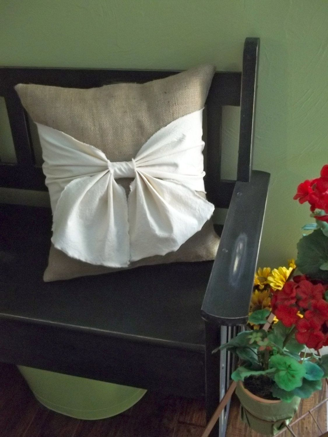 Burlap pillow with off white washed cotton canvas large bow