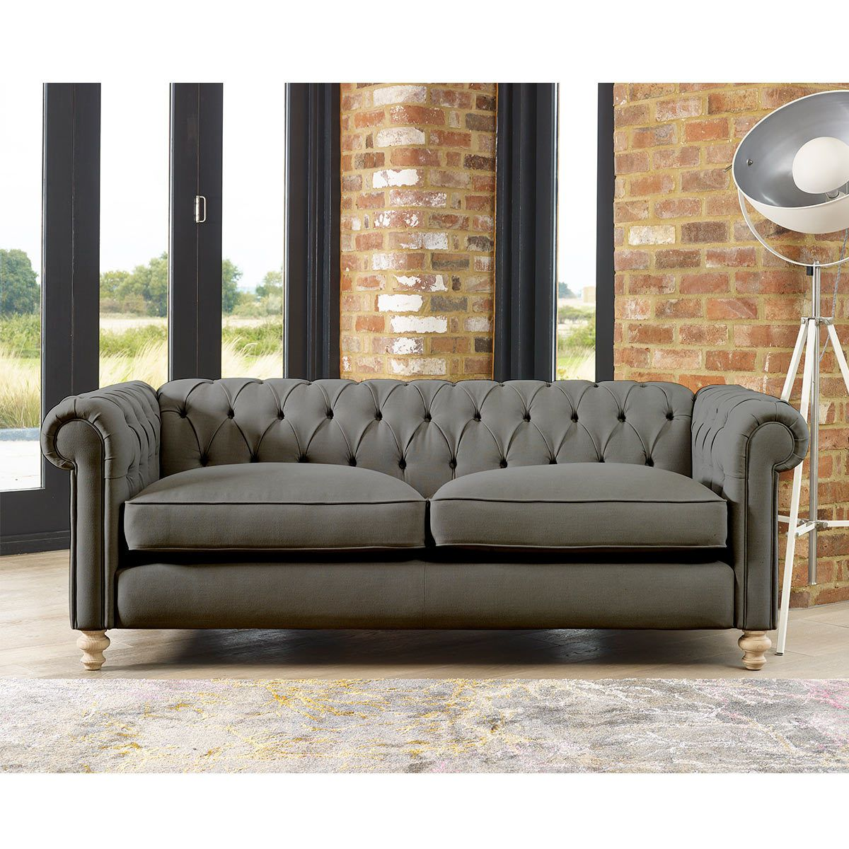 Chesterfield Button Back 4 Seater Fabric Sofa Smoke Costco Uk Sofa Seater Sofa Design