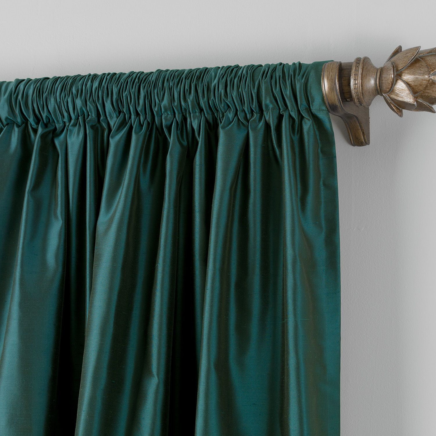 Teal satin dupioni rodpocket panel ethan allen us for the home