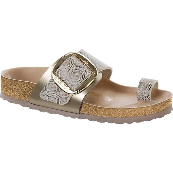 Totally new from Birkenstock. New oversized buckles adds graphic flare to  classic styling. Silk road tile printed leather uppers, smooth leather li…