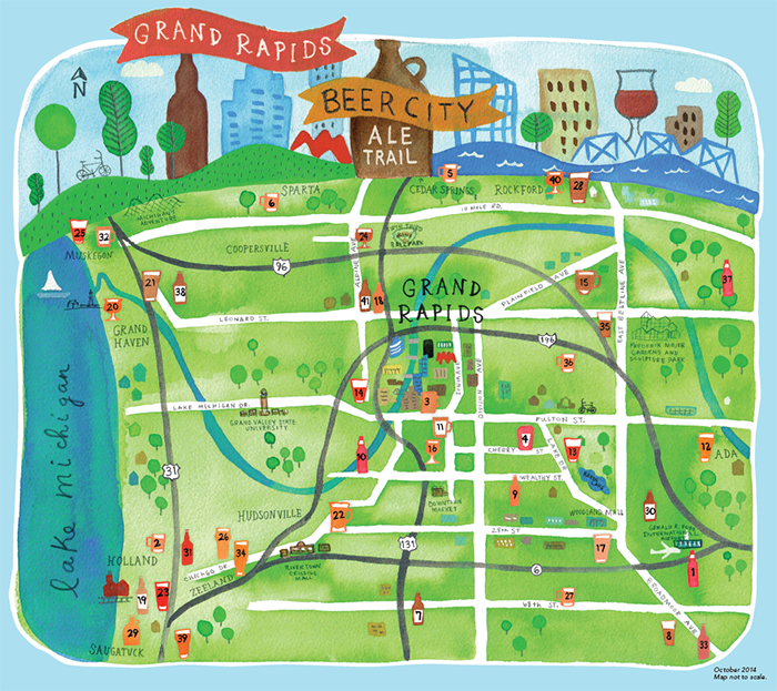 Grand Rapids Brewery Map Ale Trail Beer Map | Travel in 2019 | Grand rapids brewery