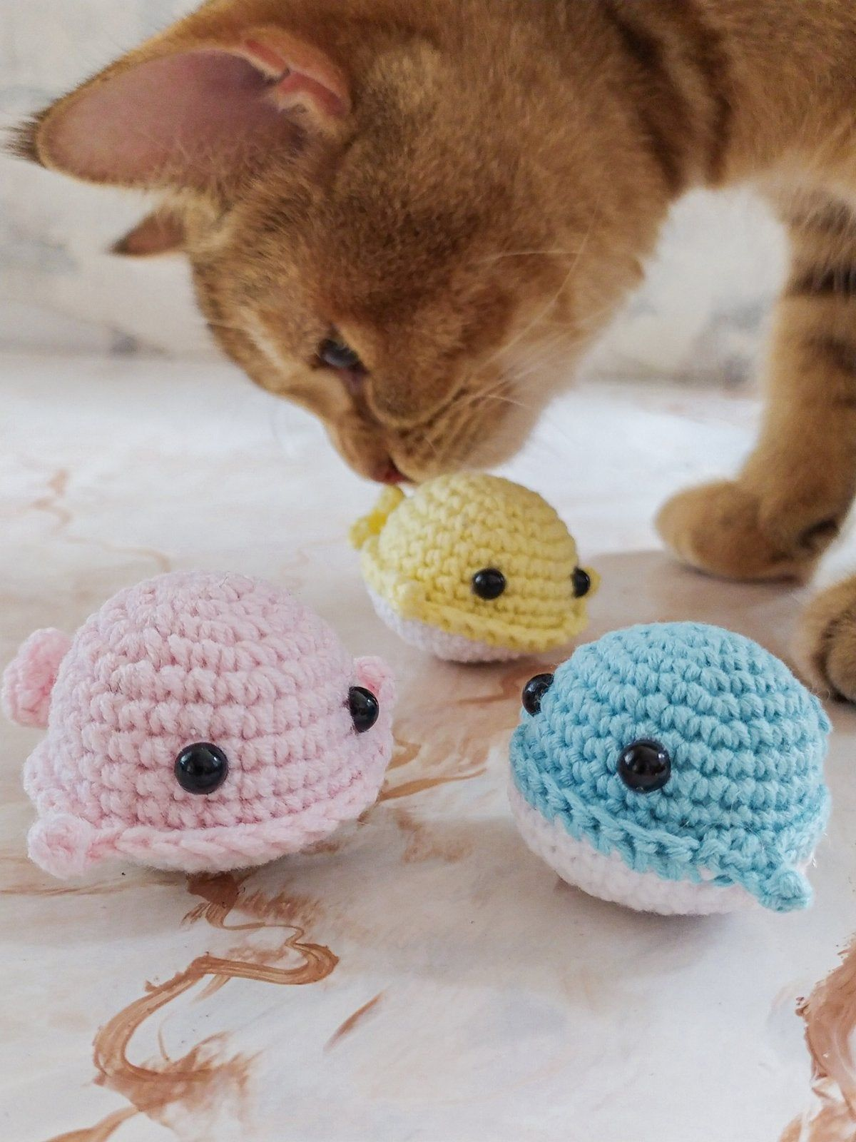 Catnip Whale Toy For Cat. Crochet Mini Toys. Valentines