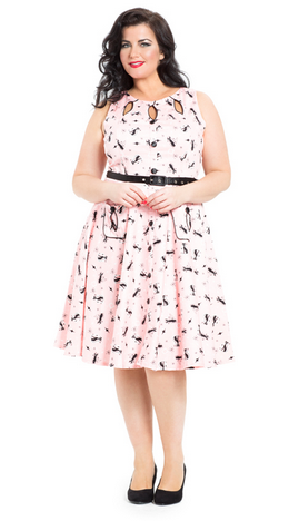 Voodoo Vixen Rockabilly 50S Vintage Plus Size Cat Dress Pink   Price -  £52.99 c628b6b14d13