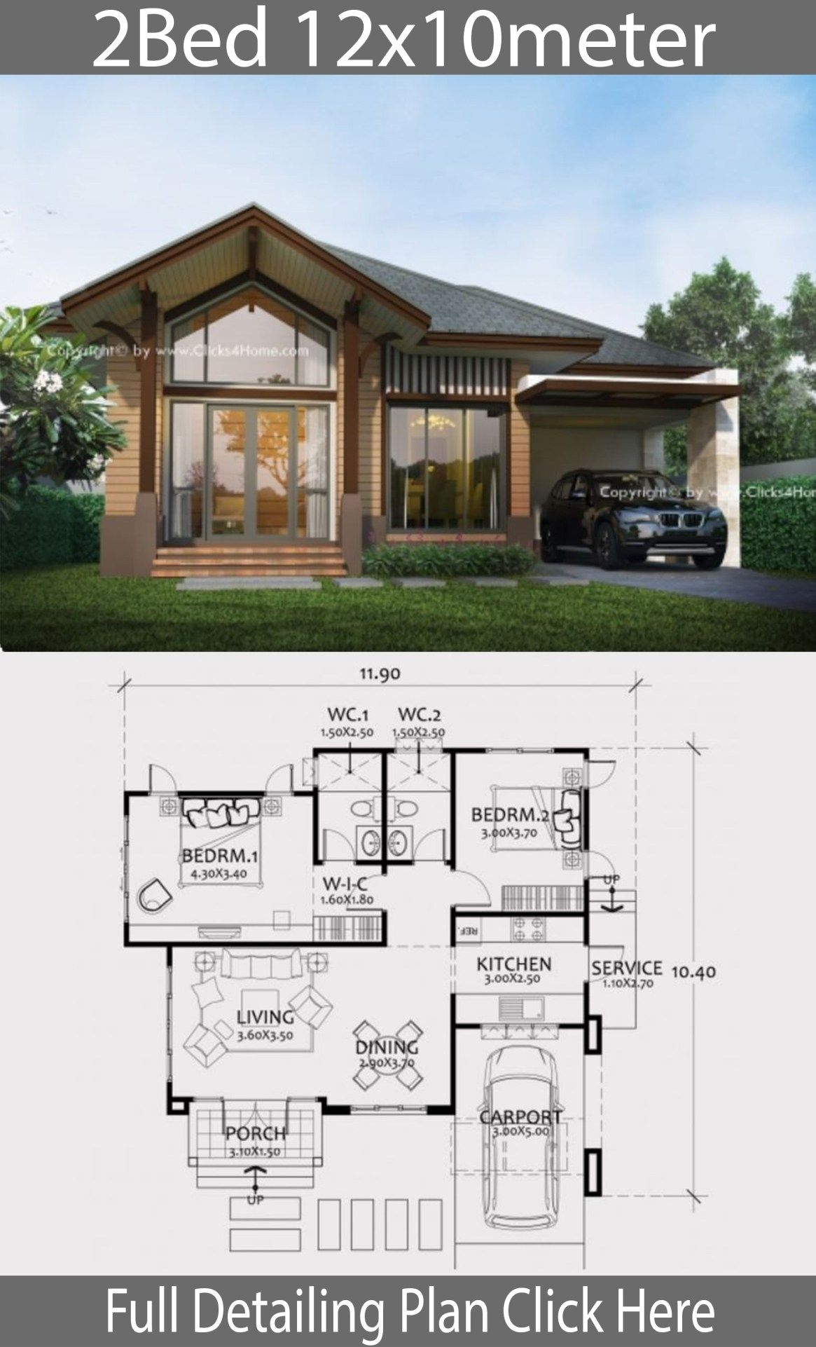 Home Design Plan 12x10m With 2 Bedrooms Home Design With Plansearch Beautiful House Plans Architectural House Plans Small House Design Plans
