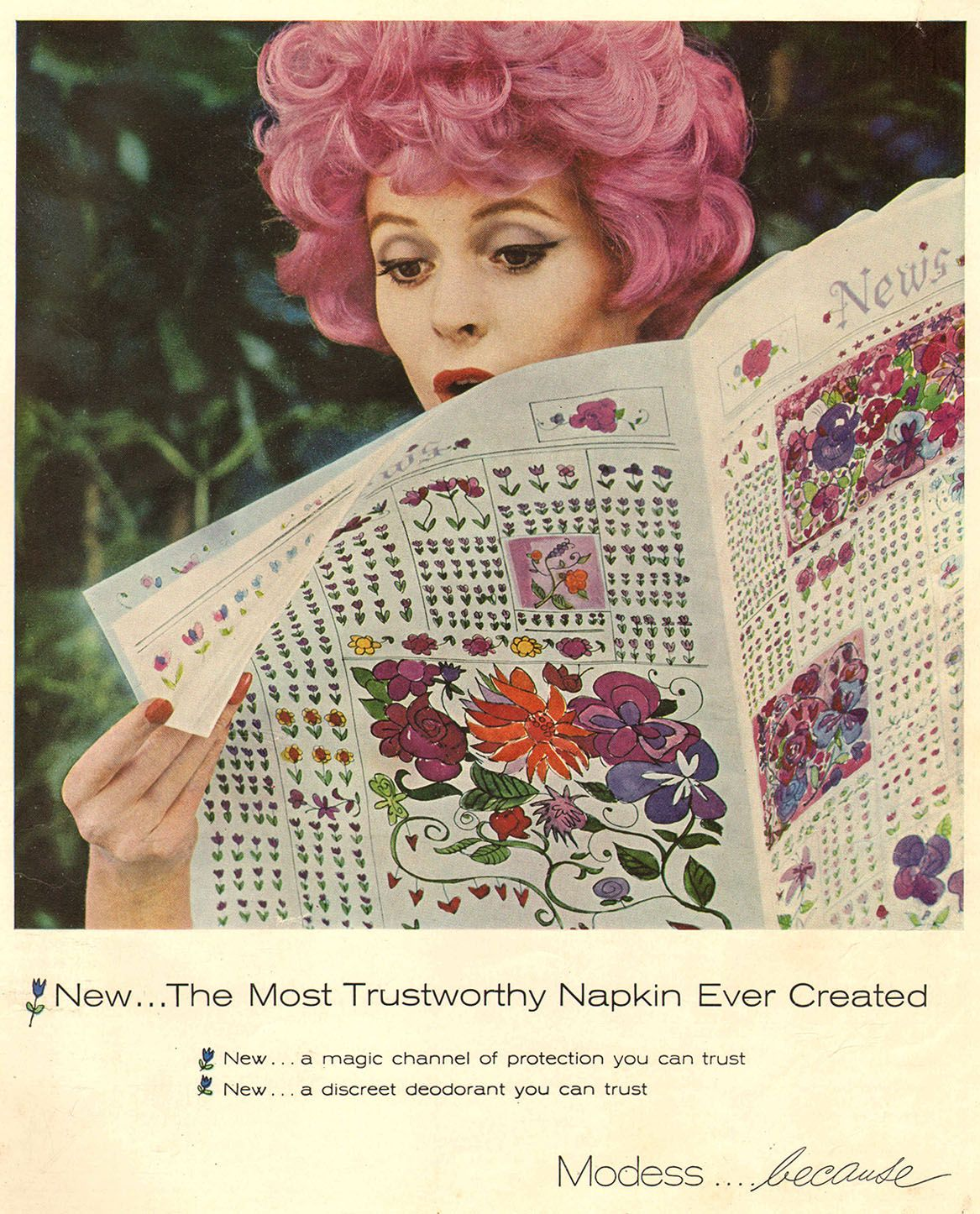 modess feminine products pink hair 1960 | ladies home