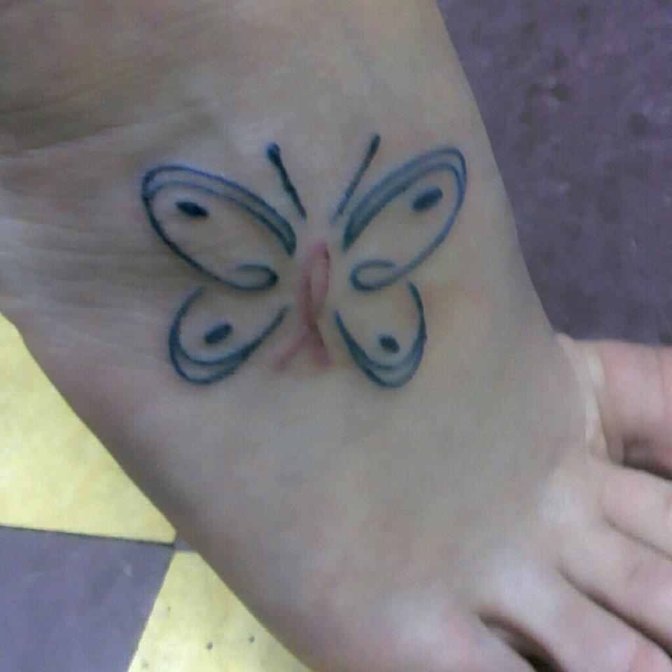 My tattoo butterfly breast cancer ribbon