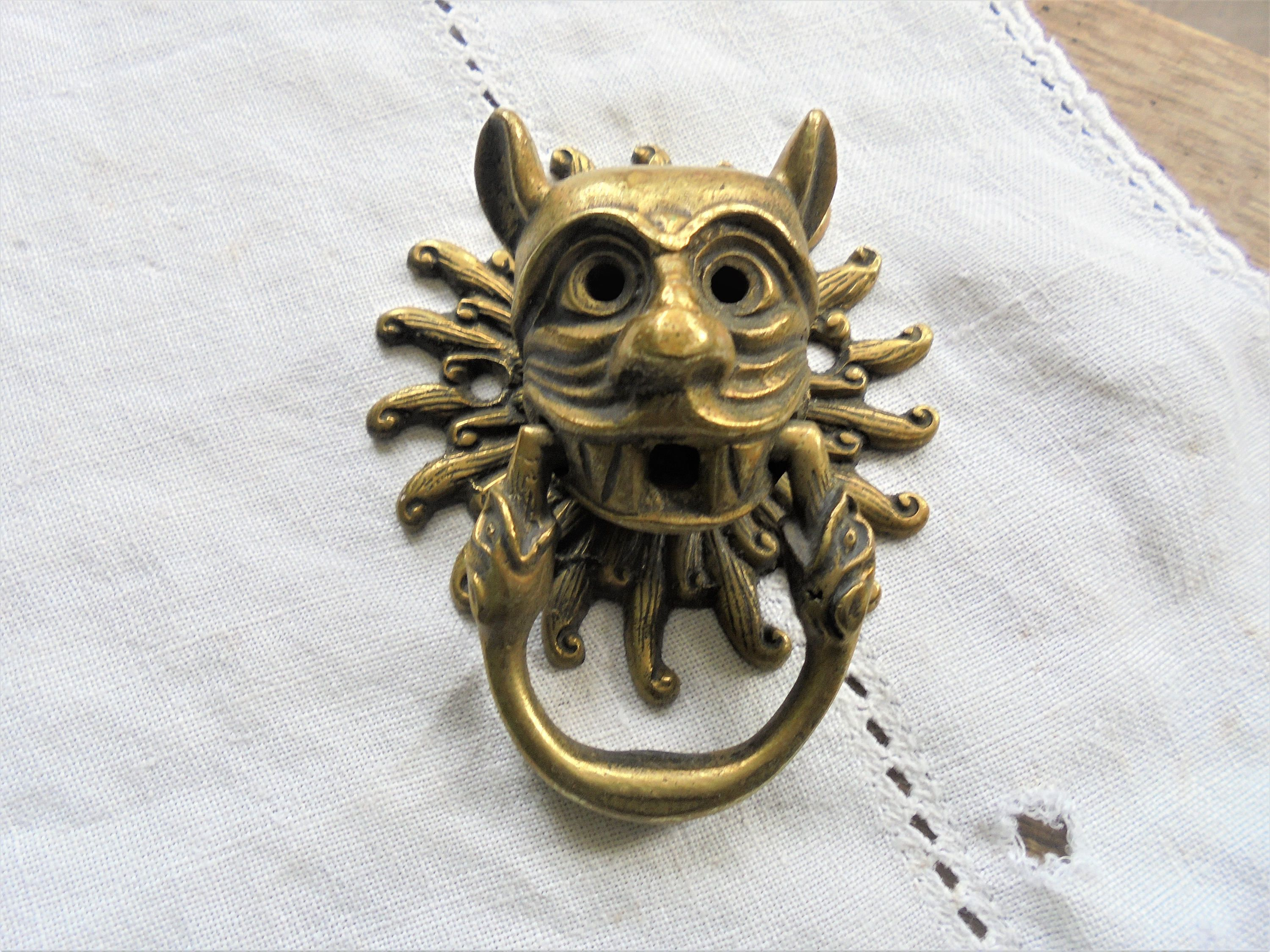 Vintage Face Door Knocker Drawer Pull Gothic Gargoyle Demon Devil Snakes Interesting Antique Br By Imperfetions On Etsy