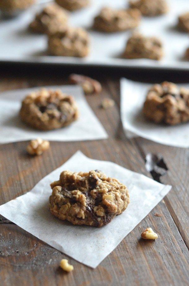 Healthy Dark Chocolate Walnut Cookies - Apple of My Eye