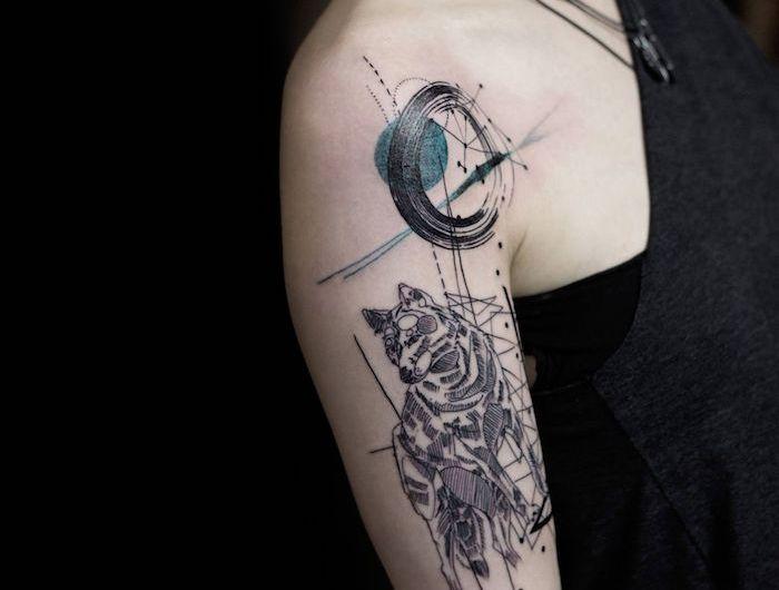 ▷ 1001 + modèles de tatouage loup pour femmes et hommes | image