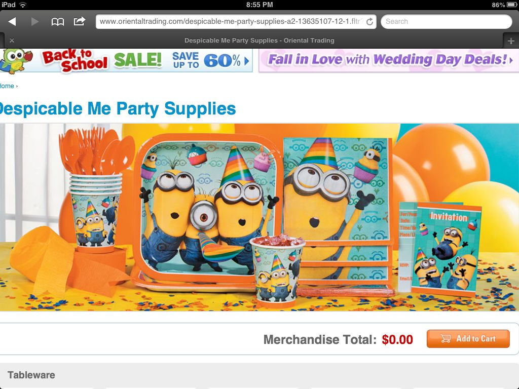 Despicable Me part supplies from Oriental Trading Co.