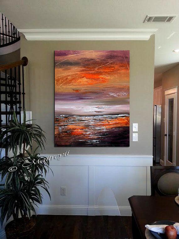 "Seascape 40"" distant horizon, Modern Wall Art on Canvas, Deco Oil Painting size 40""x30"" (100cmx75cm)"