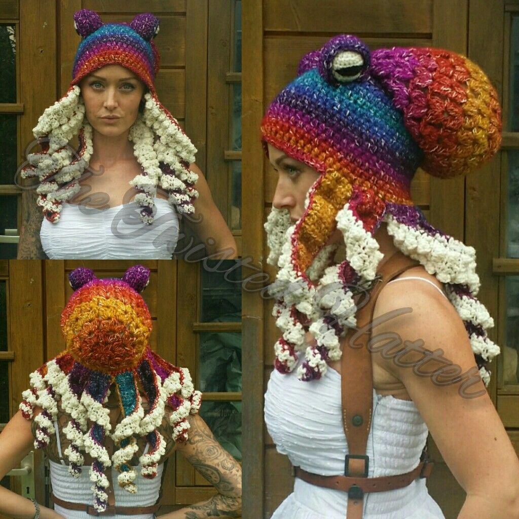 272a416851b Crochet rainbow Octopus hat