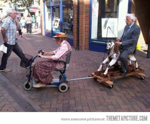 When you're old, nothing matters anymore...love that he even has a whip