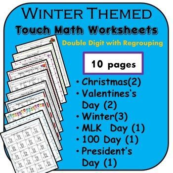 Touch Math Addition: Winter Theme- Double Digit with Regrouping ...