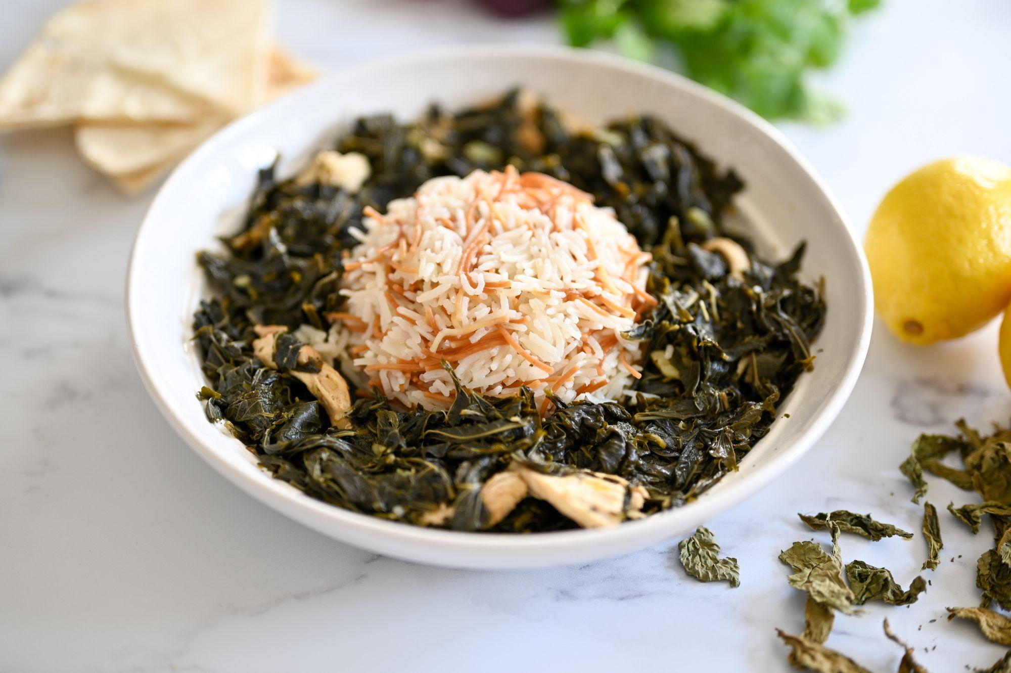 Molokhia With Roz Recipe Molokhia Recipe Food How To Cook Chicken