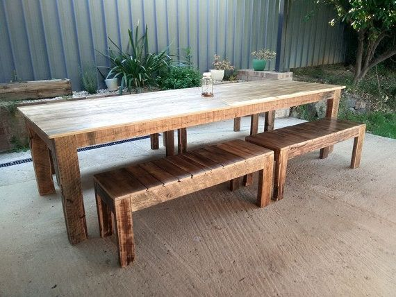 3 Metre Recycled Timber Dining Table And Optional Bench Seats
