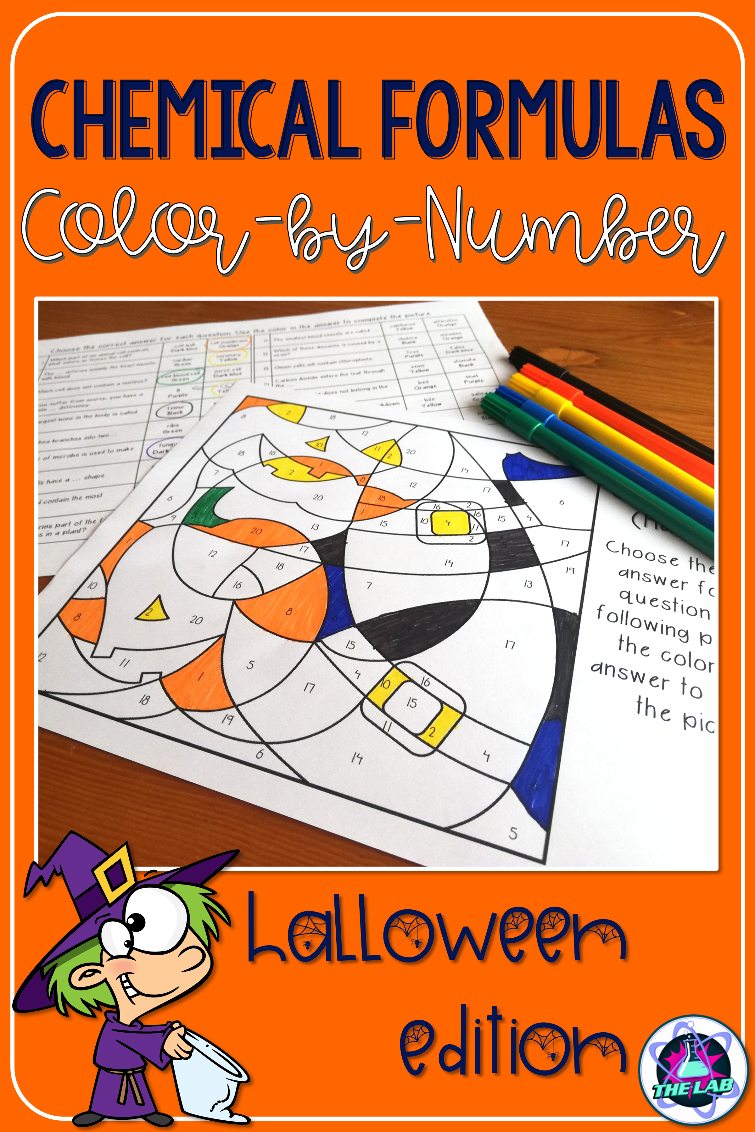 Chemical Formulae Colour By Number Activity Halloween