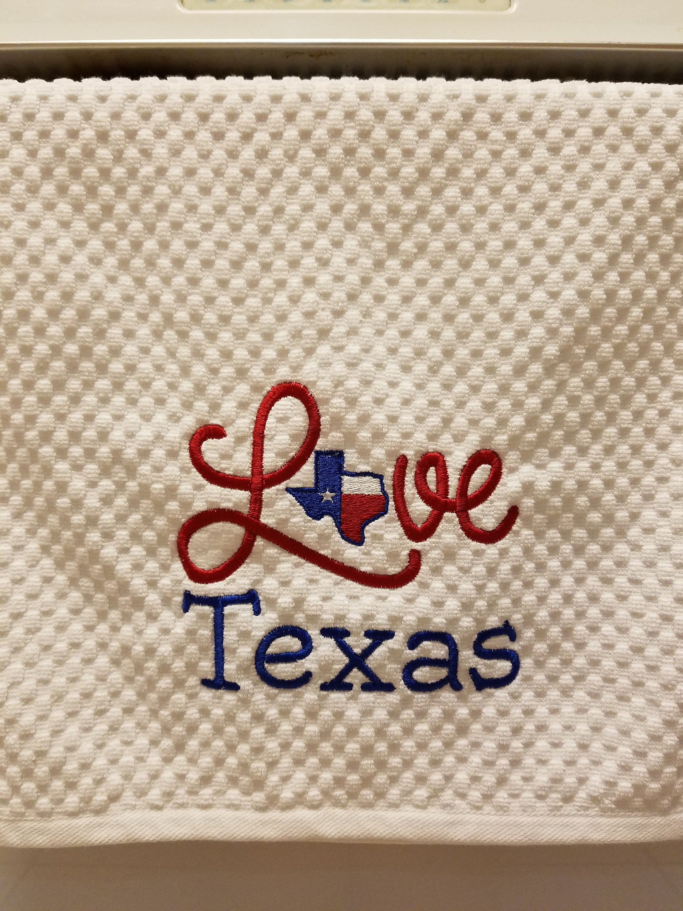 Embroidered Texas Hand Towel Texas Terry Cloth Kitchen Hand Towel
