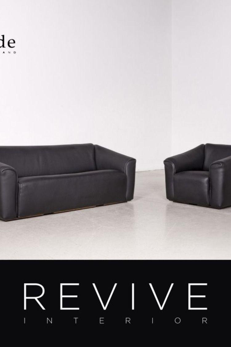 De Sede Ds 47 Designer Leder Sofa Garnitur Schwarz Echtleder