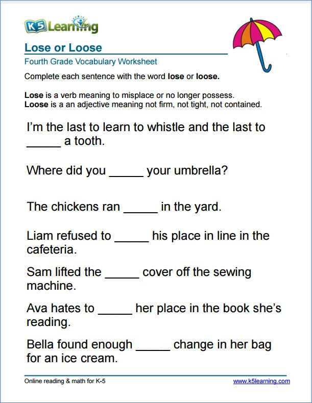Grade 4 lose or loose vocabulary worksheet | education