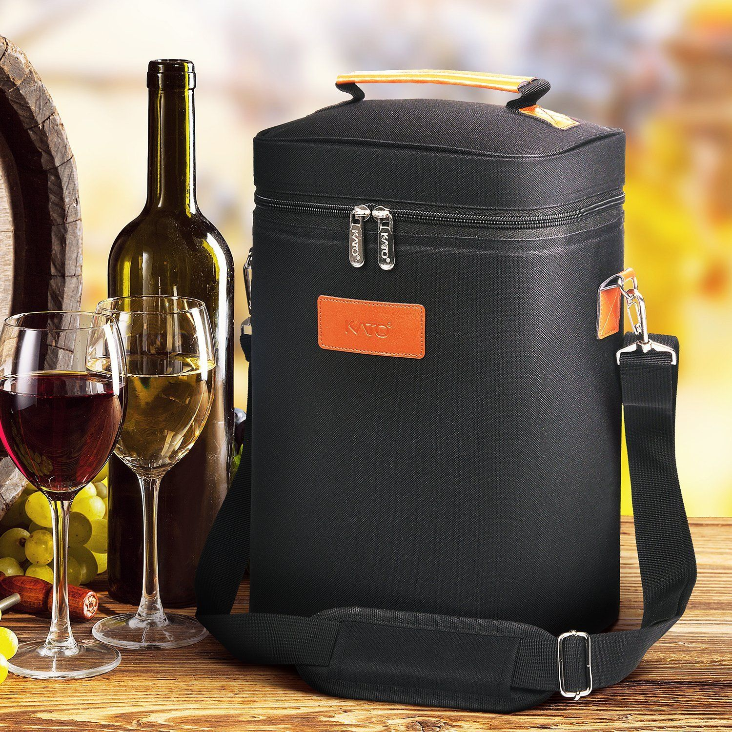 Kato Insulated Wine Carrier Bag 4 Bottle Travel Padded Wine Carrying Coolertote With Handle And Shoulder Strap Gre Wine Carrier Bag Wine Cooler Wine Carrier