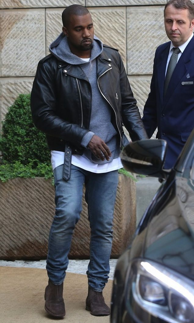 Kanye West Wears Schott Nyc Custom Leather Jacket And Bottega Veneta Boots In Prague Kanye West Style Kanye West Lederjacke Manner
