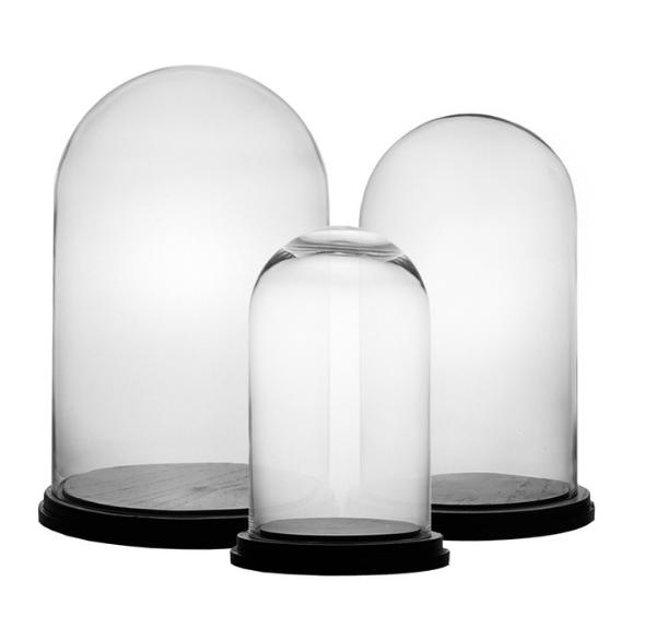 Glass Dome Bell Jar Cloche Terrarium With Wood Bases Set Of 3 In 2020 Glass Dome Cloche Glass Dome Bell Jar Cloche Domes