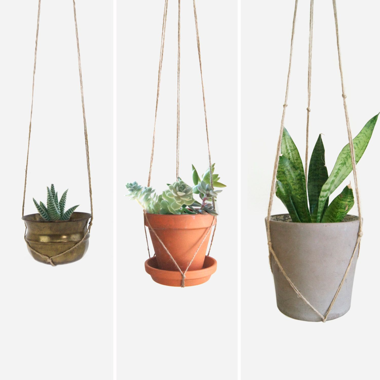 Natural Beige Macrame Plant Hanger For Hanging Planters Raw Jute