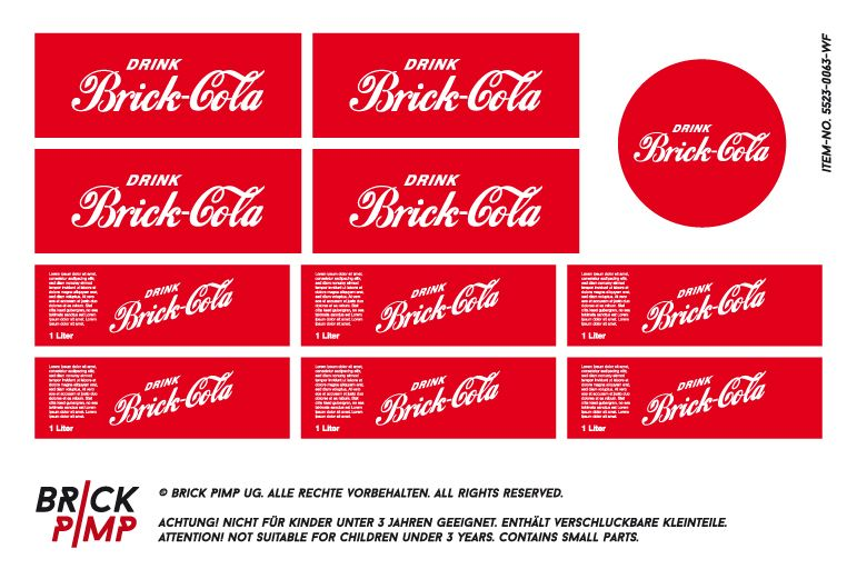 Cola With Box Stickerdecal Suitable For Lego 1x1x1 1x2x3 Bricks