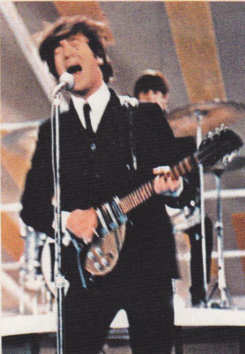 John Lennon Ed Sullivan Of John And Ringo Performing On The Ed Sullivan Show February 9 1964 The Beatles The Beatles Live Beatles Pictures