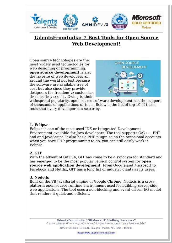 Talentsfromindia 7 Best Tools For Open Source Web Development Web Development Development Open Source