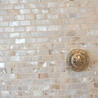 Cream Brick Pearl Shell Tile Le Home Mediterranean