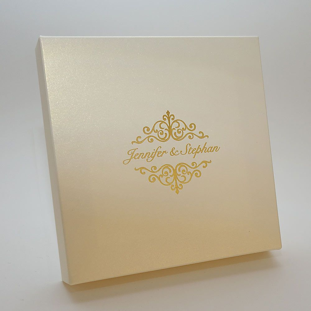 Ivory Gold Invitation Boxes Made Of The Beautiful Shimmering