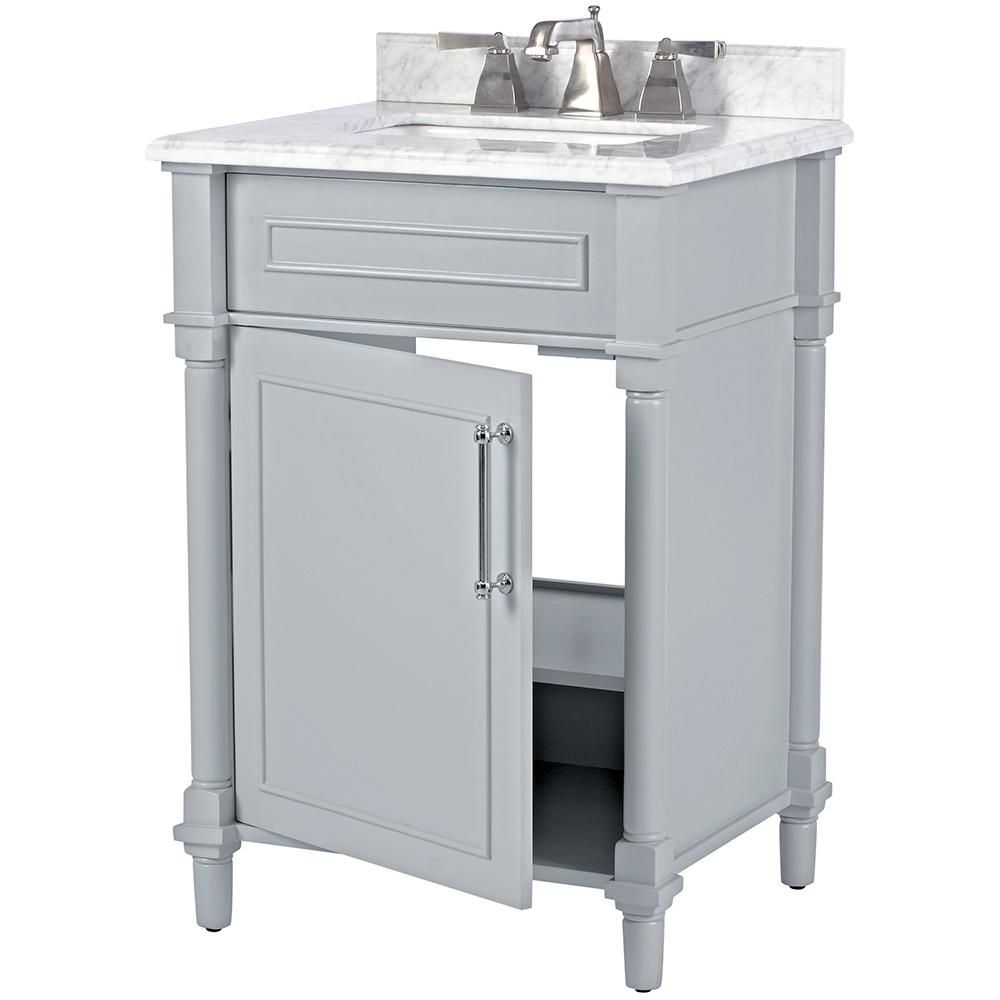 Home Decorators Collection Aberdeen 24 In W X 20 In D Bath Vanity In Dove Grey With Carrara Marble Top With White Sink 8103200270 In 2020 24 Inch Bathroom Vanity Modern Bathroom Vanity 20 Inch Bathroom Vanity