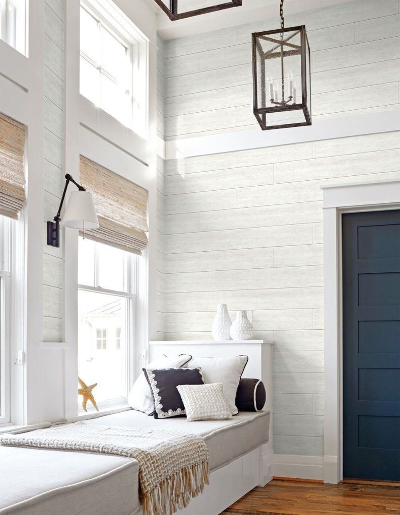 Shiplap Peel And Stick Wallpaper In Off White By Nextwall Peel And Stick Wallpaper White Shiplap Home Decor