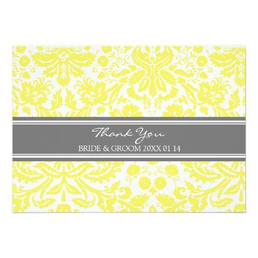 Wedding Thank You Cards Lemon Gray Damask Personalized Invitation