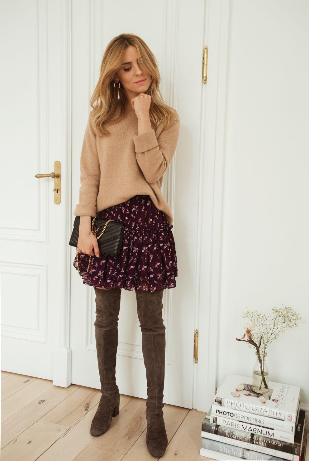 3fff366057 earrings   kolczyki - Mango high boots   wysokie kozaki - Pretty Ballerinas  wool coat   wełniany płaszcz – Zara (stara kolekcja) skirt   spódnica -  Prototyp ...