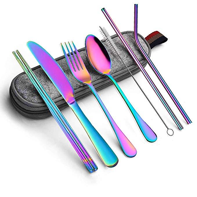 Amazon Com Portable Utensils Silverware Flatware Set 8 Piece Cutlery Set Including Knife Fork Spoon Chopsticks In 2020 Portable Utensils Travel Utensils Utensil Set