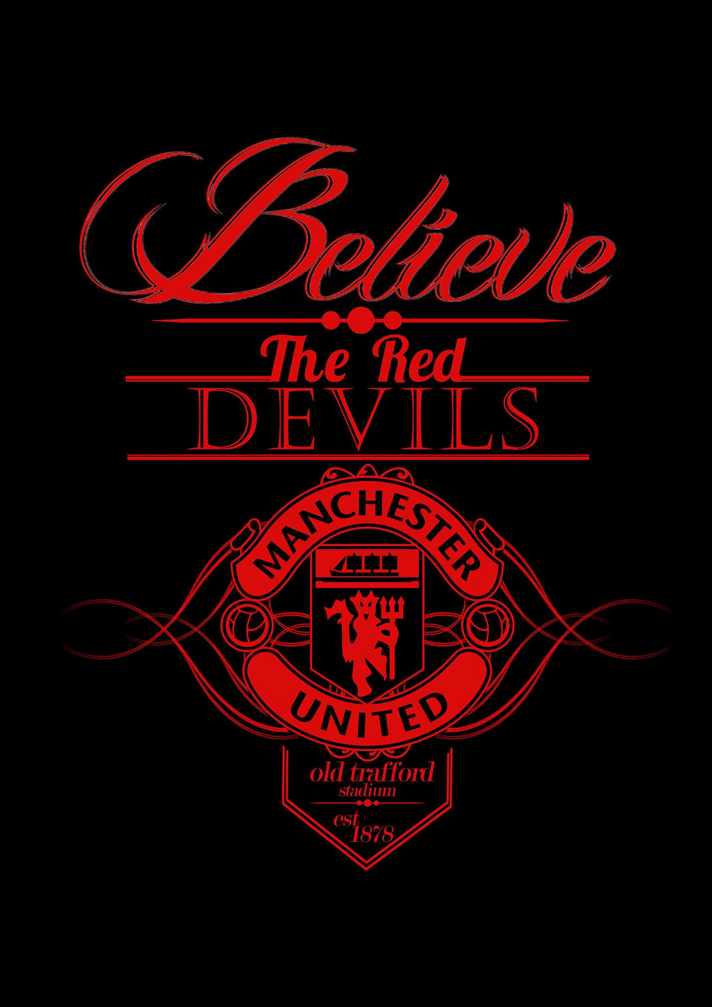 Football Team Typography On Behance Manchester United Logo Manchester United Wallpaper Manchester United Fans