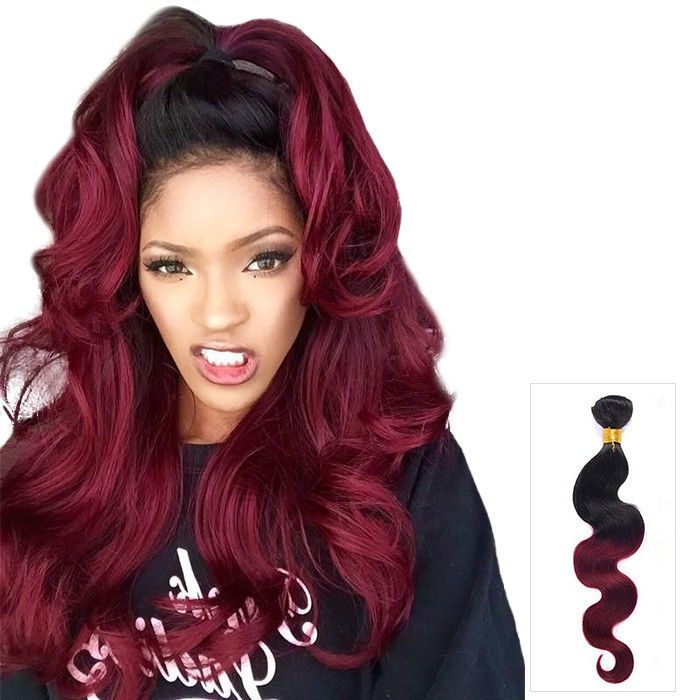 16 Inch Sensible Body Wave Ombre Indian Remy Human Hair Weave Two
