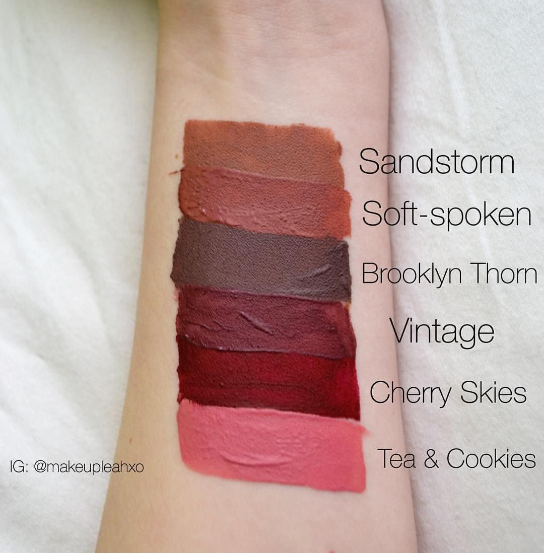 See this Instagram photo by @makeupleahxo swatches of NYX liquid suede lipstick - sandstorm , soft spoken , brooklyn thorn , vintage , cherry skies , tea and cookies