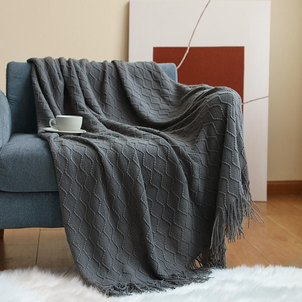 Inya Textured Fall Throw Blankets For Couch Soft Thick Cable Knitted Blankets Autumn Knit Blanket For sofa bed cozy Decorative - Wave-smoky grey / 127x170cm
